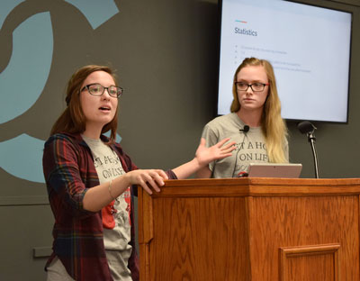 "NPTC Medical professions students Ariel Albo and Bridgette Thomson from Lake Hamilton High School presented ""Sister Operation."""
