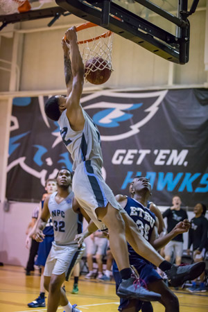DJ Martin, NPC Nighthawk, dunking one against East Texas.